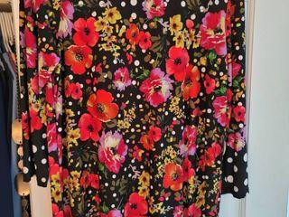 Susan graver size large pink floral blouse
