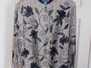 Indigo Moon Beaded Floral Jacket Size large