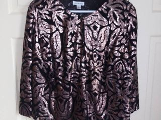 Joan Rivers Black and Gold Sequined Top Size large
