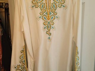 Bob Mackie White Blue Embroidered Womans Blouse Xl