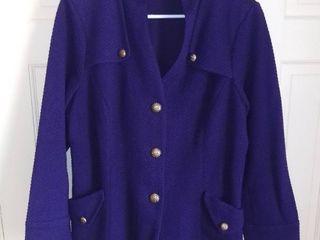 Joan Rivers Cotton Blend Purple Jacket Size latge