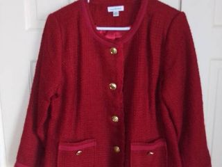 Joan Rivers acrylic Blend Red Jacket Size 14
