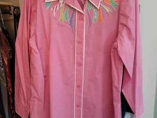 lot of 2 Bob Mackie Button Up long Sleeve Size large Blouses