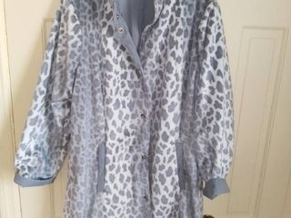 Dennis Basso Grey and White Animal Print Reversible long Jacket
