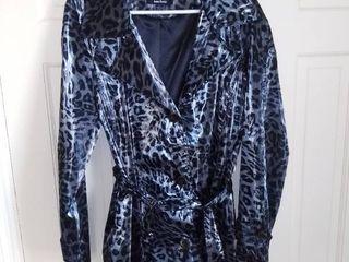 Dennis Basso Black Grey Print Polyester Jacket Size large
