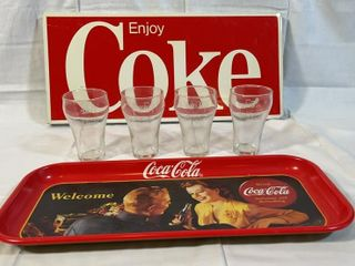 Metal Enjoy Coke Sign  Glasses   Tray