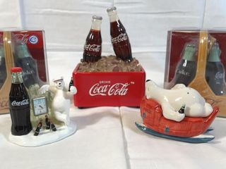 3 Coca Cola salt and pepper shakers  and