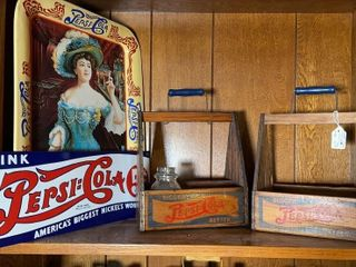 2   wood Pepsi crates  Pepsi Cola sign