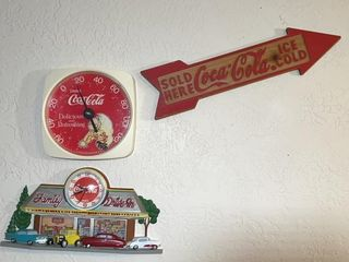 Coca Cola thermometer  clock and wood sign