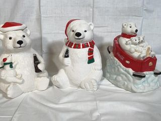 3 Coca Cola Christmas Bears cookie jars