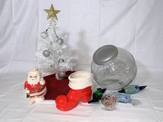Vintage Santa Claus coin bank  mini tree  boot