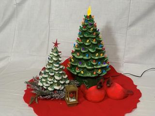 Retro ceramic Christmas trees w  lights