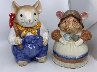 2 mice cookie jars