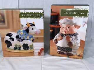 Cow and Chef Pig cookie jars