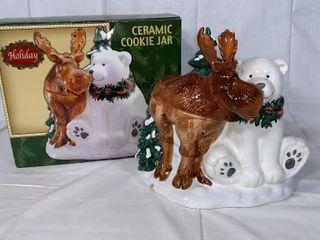 Holiday Moose   Bear cookie jar