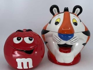 Tony the Tiger and Red M M cookie jars