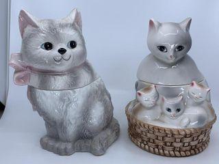 2 ceramic cat cookie jars