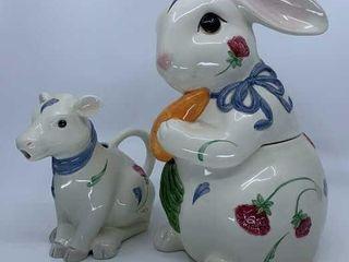 lenox Poppies on Blue Bunny cookie jar