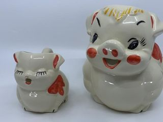 American Bisque Smiling Pig pitcher and