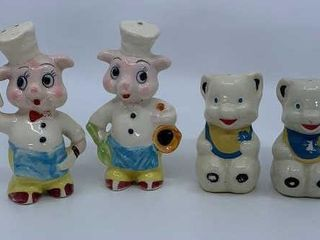Two sets of vintage salt and pepper shakers