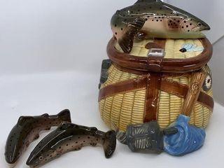 Dolomite Fish Basket cookie jar