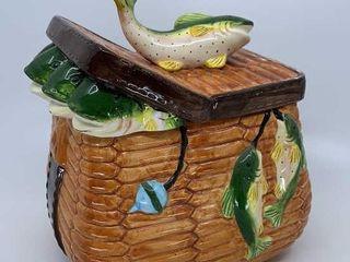 Fish basket cookie jar