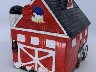 Red barn musical cookie jar