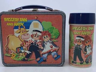 1973 Raggedy Ann and Andy lunchbox   thermos