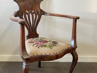 Unusual Queen Anne Needlepoint Arm Chair