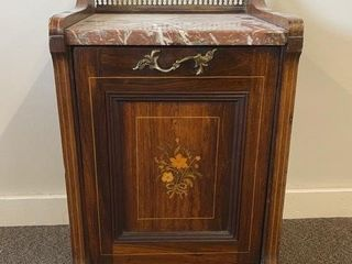 Antique Marble Top Ash Drawer Cabinet