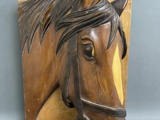 large Wooden Hand Carved Horse Head