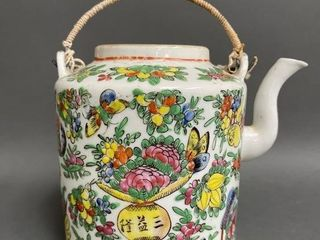 Chinese Decorated Early Tea Pot with Woven Handle