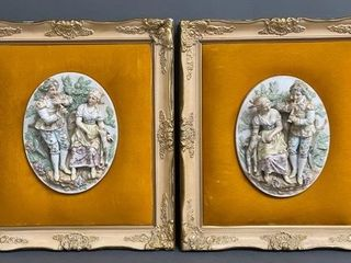 Pair of Beautiful Porcelian Relief Plaques