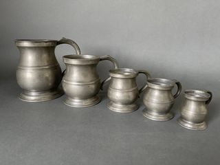 Set Very Early Pewter Mugs