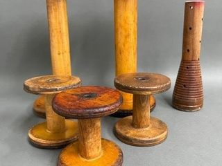 lot of Many Wooden Factory Knitting Spools