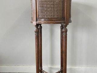 Oak and Wicker Stretcher Base Plant Stand