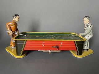 Antique Tin Type Wind Up Pool Player