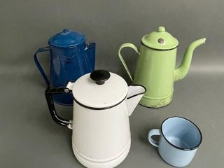 Enamelware Coffee Pots and Cup