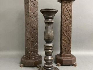 Grouping Early Carved Wooden Candle Sticks