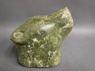 Early Soapstone Bearhead Carving