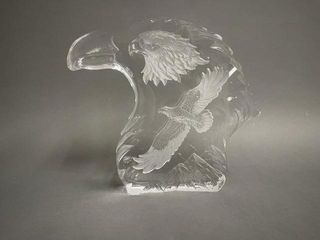 7  Glass Etched Eagle Head