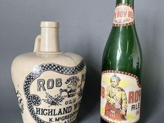 Rob Roy Stoneware Whiskey and Green Glass Bottle