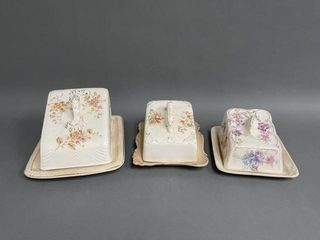 Grouping of Victorian Cheese and Butter Dishes