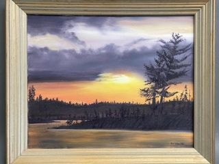 Signed Oil on Canvas Sunset Northern Ontario