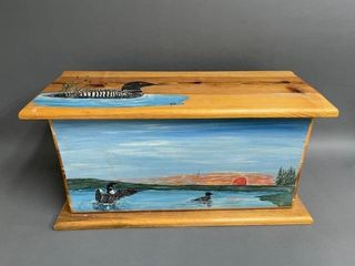 Exceptional Hand Painted loon Pine Woodbox