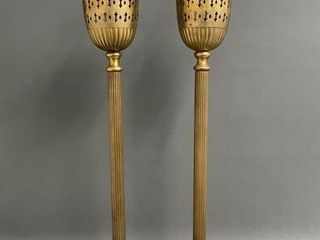 Pair of 28  Tall Brass Incense Burners