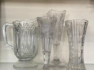 Grouping of Antique Pressed Glass Vases and Pitche