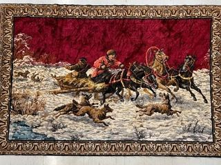 Interesting Wall Rug Wolves in Pursuit