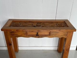 Exceptional Hand Carved Pine Hall Table