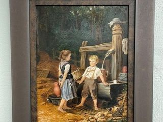 Oil on Canvas Painting of Two Children Near Well